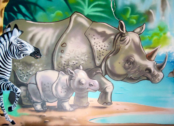 "Hand-painted Mural  ""Jungle"" - Rhinos"