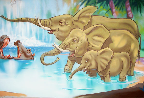 "Hand-painted Mural  ""Jungle"" - Elephants"