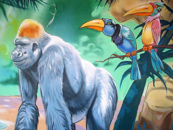 "Hand-painted Mural  ""Jungle"" - Gorilla"