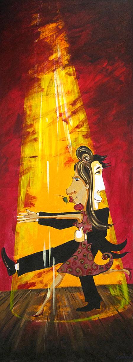 """Acrylic Painting """"TANGO IN TUSCANY"""" by Rolandas Kiaulevicius Dabrukas"""