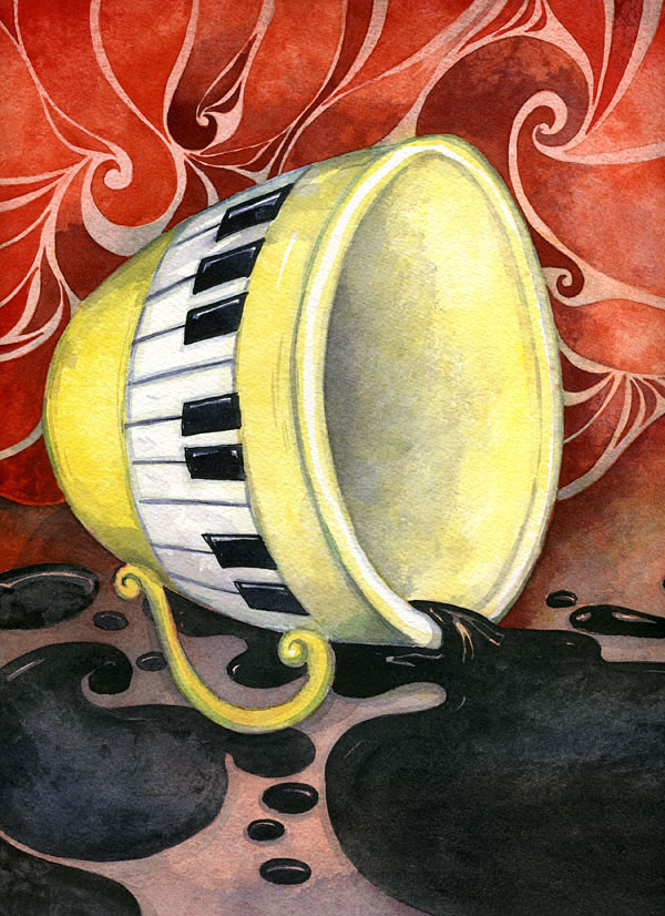 "Watercolor Illustration ""BLACK COFFEE"""