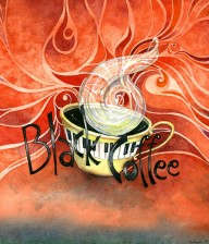 "Watercolor Illustration ""BLACK COFFEE II"""