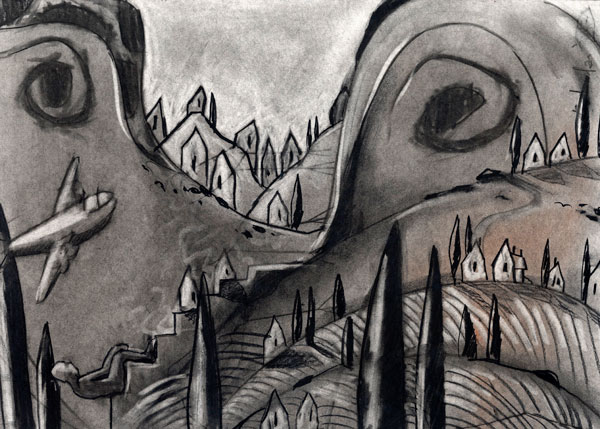 """ITALIAN VILLAGE"" , Charcoal Drawing by Rolandas Kiaulevicius Dabrukas"
