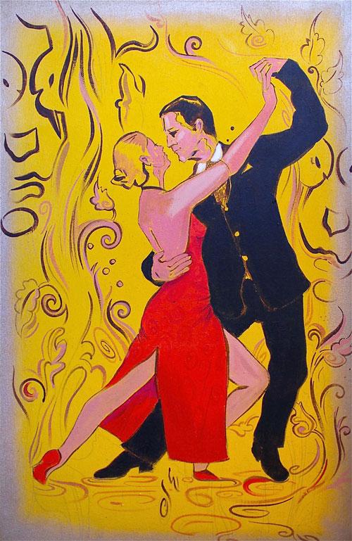 Passionate, romantic, lovely, sexy, sensual couple dancing tango by Rolandas Kiaulevicius Dabrukas