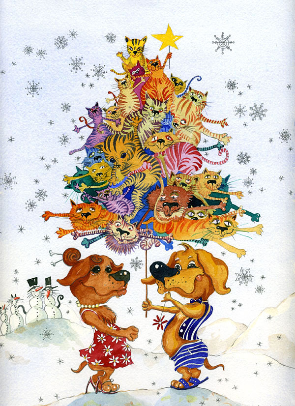 "Watercolor Illustration ""HOLIDAY WISHES"""