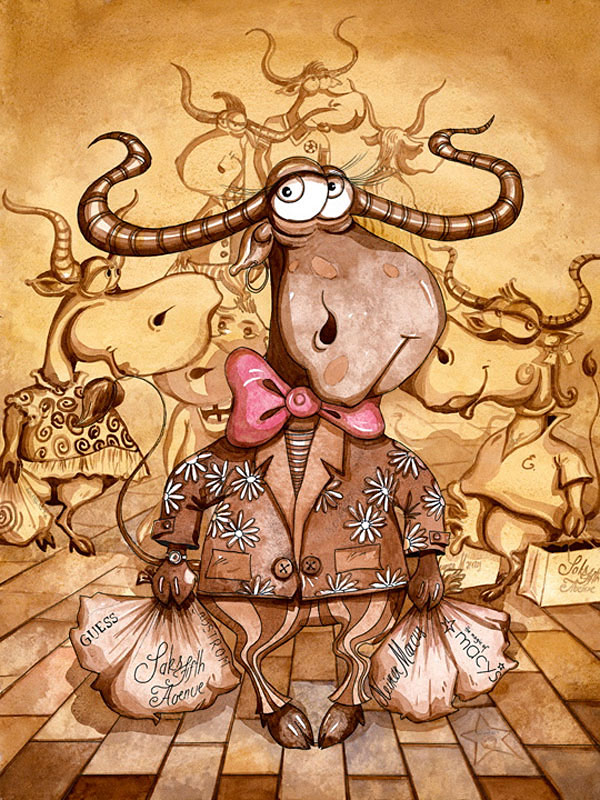 Funny, humorous,inspiring, comic, affordable, fantastic, whimsical animal painting with a bull wearing a suit and a bow-tie and going on shopping spree with bags while walking among other cow shoppers on the busy street by Rolandas Kiaulevicius Dabrukas