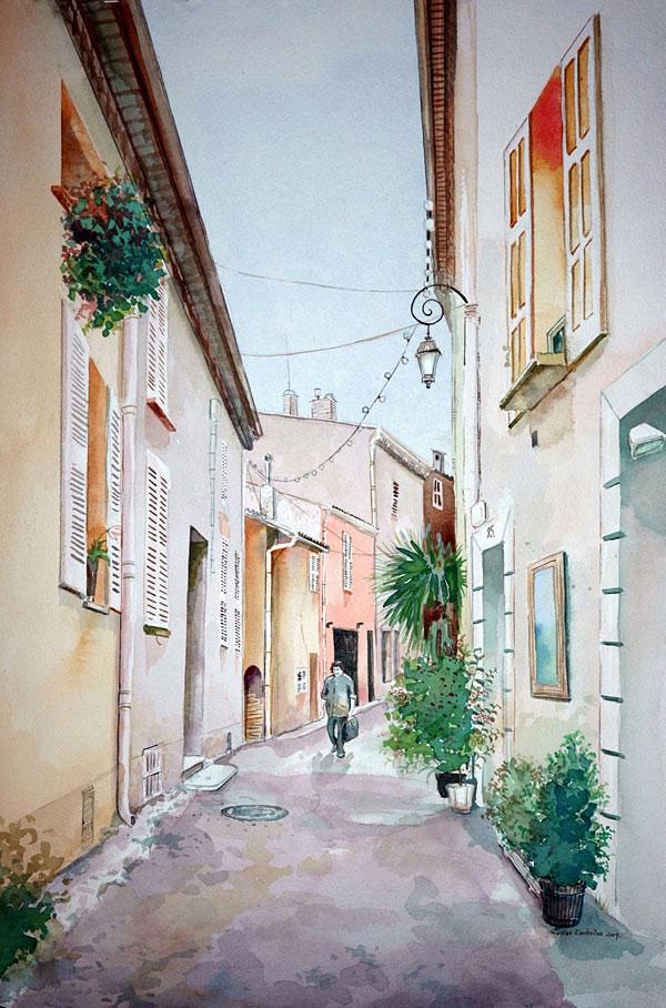 """""""VILNIUS STREET"""" , watercolor painting by Rolandas Kiaulevicius Dabrukas"""