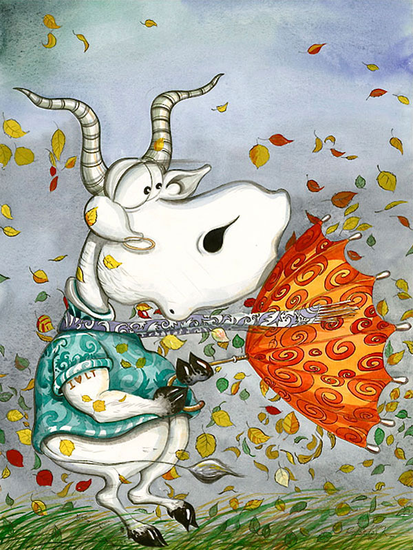 Funny, humorous, whimsical animal painting with a cow who is struggling with her umbrella and with strong wind while colorful leaves are dancing around the cow by Rolandas Kiaulevicius Dabrukas