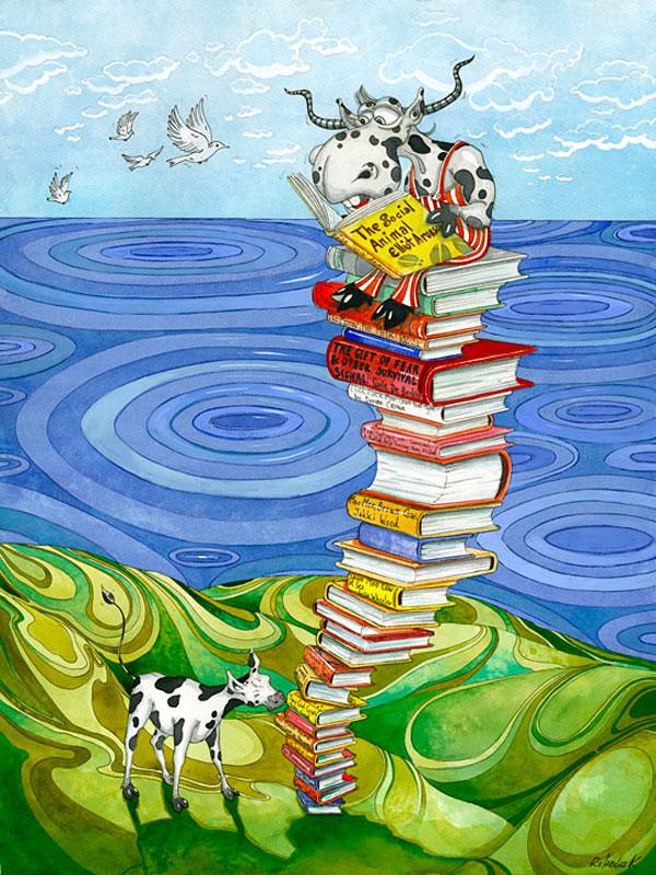 "Watercolor Illustration ""READER"""