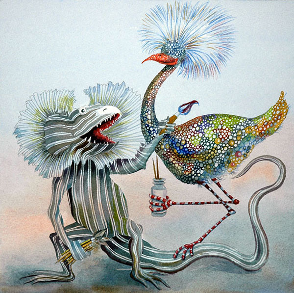 Funny, humorous, cute, colorful, jazzy, cheerful, whimsical animal painting with a lizard spattering speckles on an emu by Rolandas Kiaulevicius Dabrukas original illustration from children's book Zoolidays