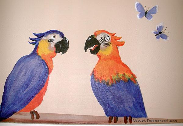 """Hand-painted Mural """"African Safari"""" - Parrots"""