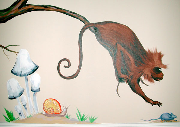 "Hand-painted Mural ""African Safari"" - Monkey"