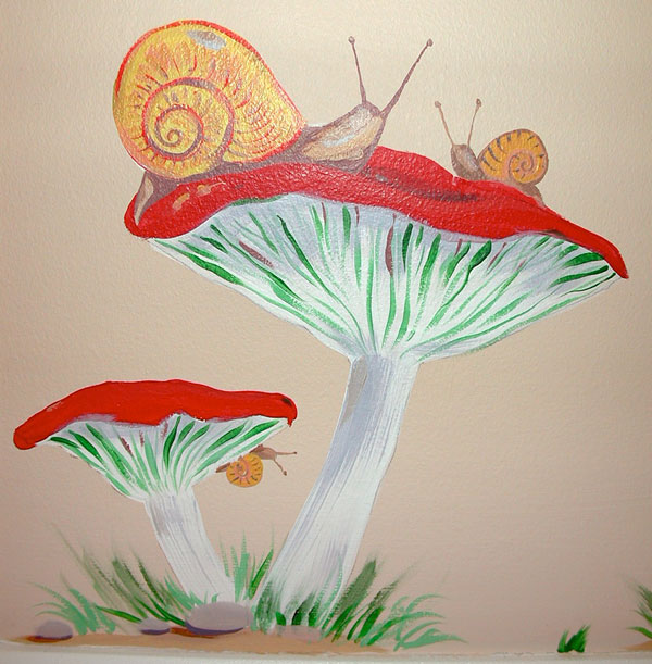 "Hand-painted Mural ""African Safari"" - Mushrooms and Snails"