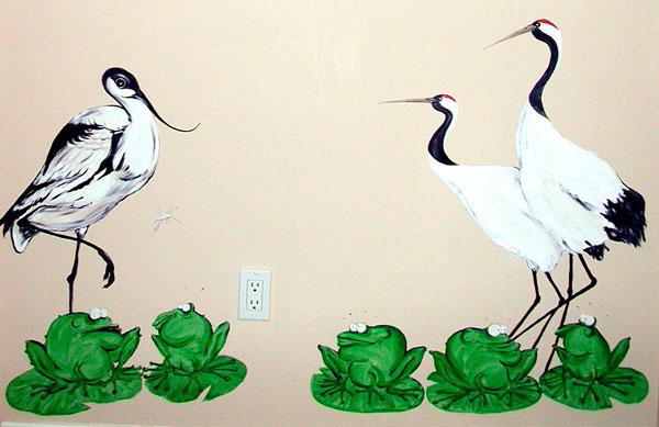 """Hand-painted Mural """"African Safari"""" - Cranes"""