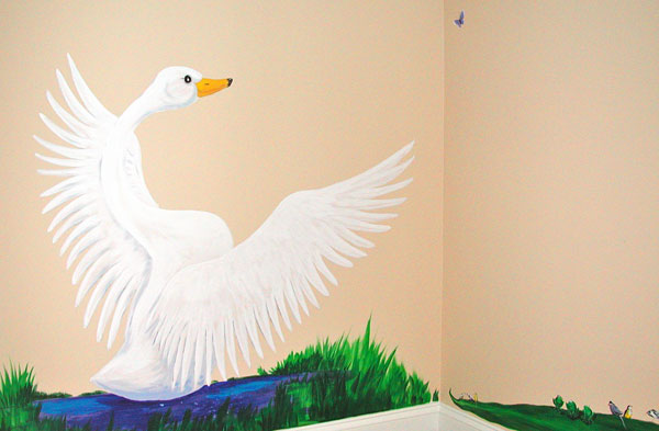 "Hand-painted Mural ""African Safari"" - Swan"