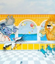 "Hand-painted Mural ""Animal Amphitheater"""