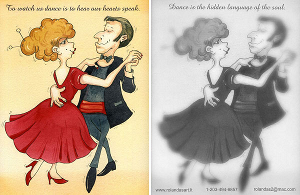 """Dance with me"" Postcard - Front and Back View"