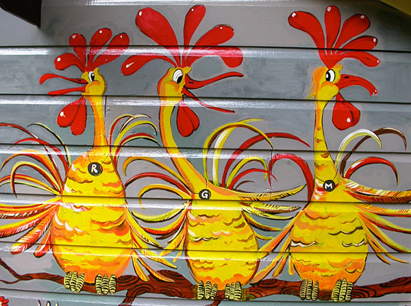 "Mural ""Fairy Tale House"" Detail - Chickens"
