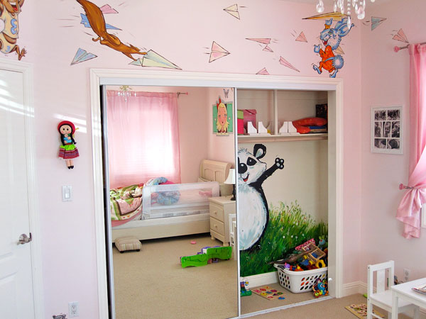 "Hand-painted Mural ""Tea Time"" - Panda in the Closet"