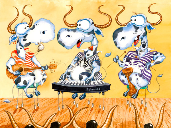 Rock Stars Trio I - Funny, humorous, whimsical animal painting with  three rock stars which are cows wearing striped tops and playing different musical instruments on stage, watercolor painting by Rolandas Kiaulevicius Dabrukas