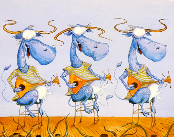 Cow Musicians Trio VII - Funny, humorous, whimsical animal painting with  three blue cows with striped T-shirts playing balalaikas on stage, watercolor painting by Rolandas Kiaulevicius Dabrukas