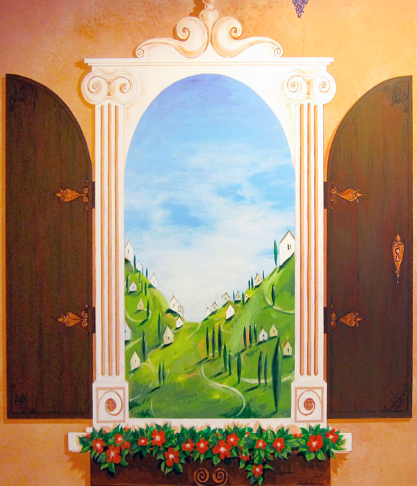 "Hand-painted mural ""Tuscany"" - window"