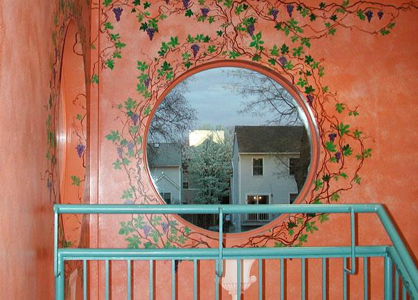 "Hand-painted mural ""Tuscany,"" stairway"
