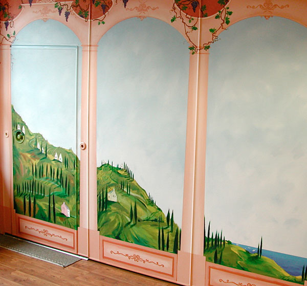 """Hand-painted mural """"Tuscany"""""""