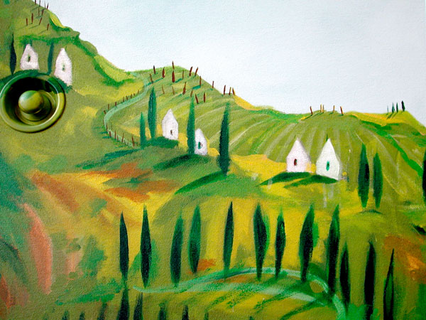 "Hand-painted mural ""Tuscany,"" detail"