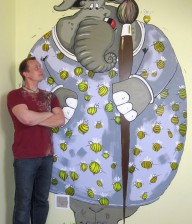 "Hand-painted Mural ""Boy's Wishes"" - Elephant"