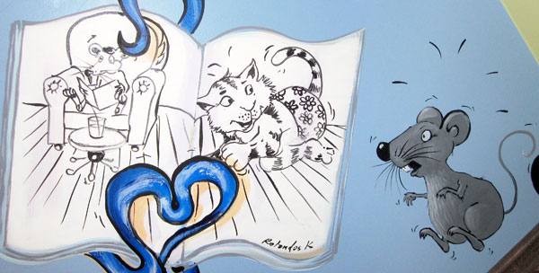 "Hand-painted Mural ""Boy's Wishes"" - Mouse Reading a Book"