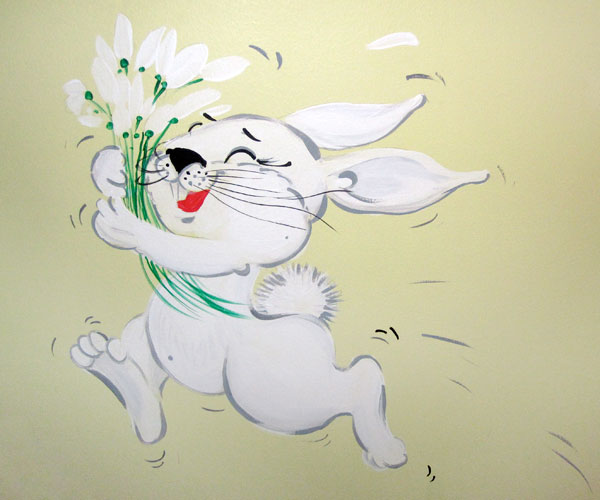 "Hand-painted Mural ""Boy's Wishes"" - Rabbit"