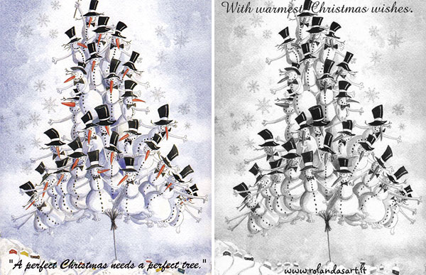 """A Perfect Christmas Tree""  Postcard by Rolandas Kiaulevicius Dabrukas, Front and Back View"