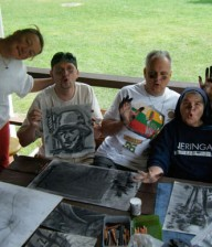 Students in Rolandas' Drawing Class at Neringa Camp in Vermont