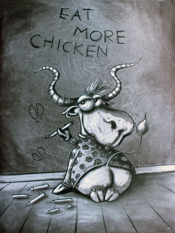 Funny, humorous, whimsical animal painting with a cow writing on a board  funny quote like eat more chicken by Rolandas Kiaulevicius Dabrukas