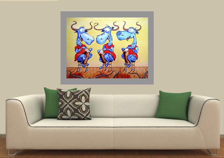 Genial Funny, Humorous, Cute, Artistic, Cheerful, Jazzy, Whimsical Animal Painting  With Three Cows Dressed In Red Dresses Playing Drams On Stage By Rolandas  ...