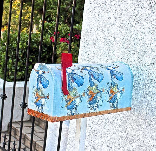Mailbox Blue Cows