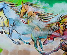"Acrylic Painting ""HORSES IN FOG"""