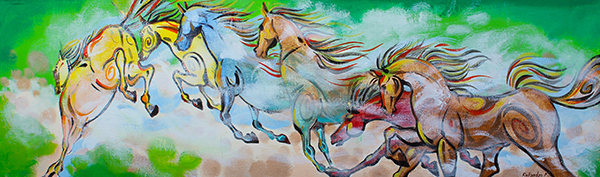 "Acrylic Painting ""HORSES-IN-FOG"""